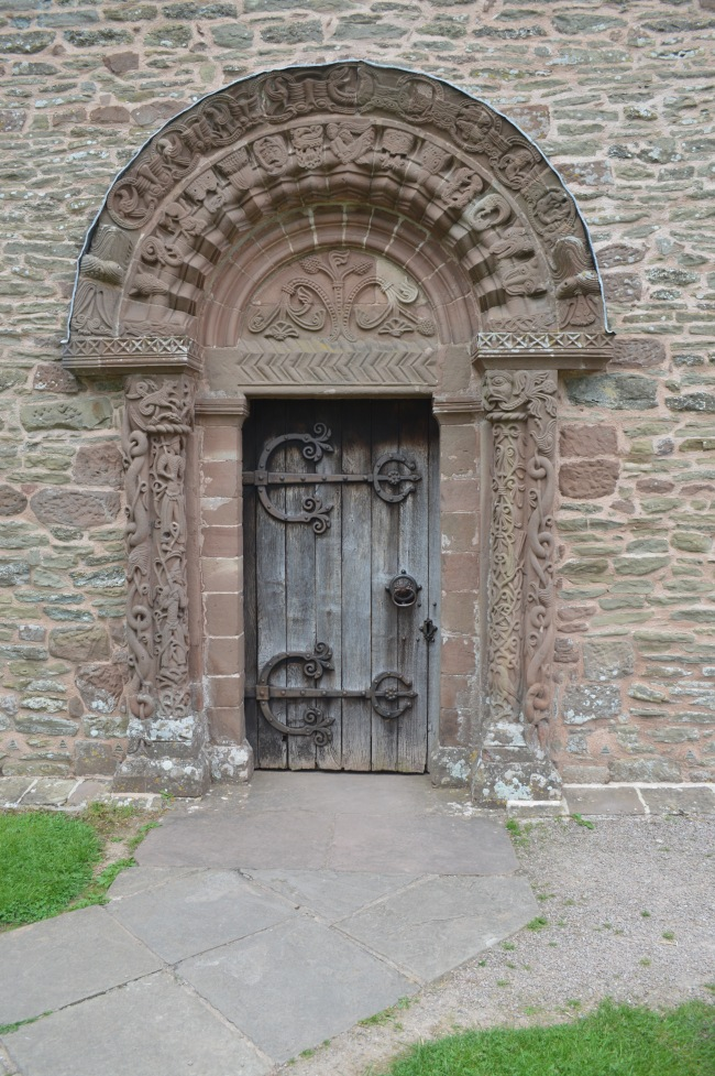 Old Church Door with Engravings and Markings