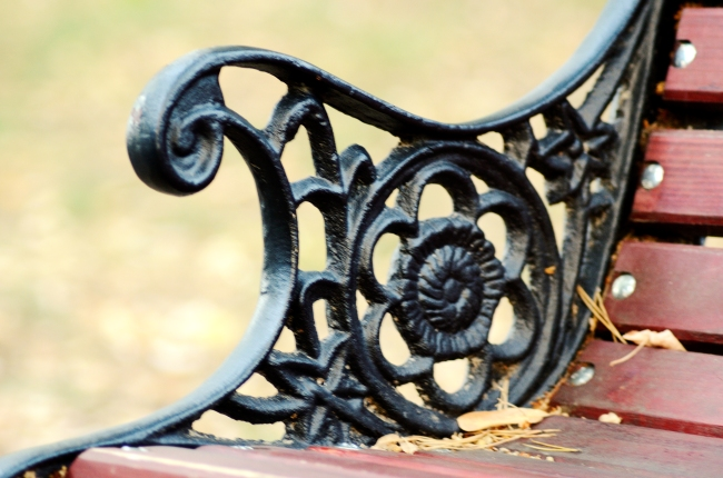 Floral Wrought Iron Ornament on a Bench in Park