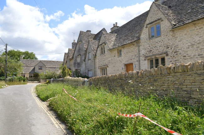 Street with a Few Old Houses in Bibury, UK