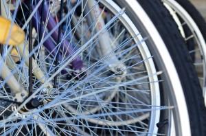 A Few Bicycle Wheel Spokes Closeup