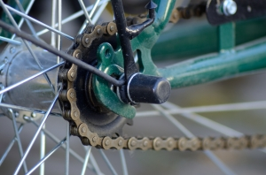 Closeup with the Cassette of a Bicycle and Chain