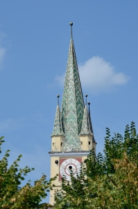 Church Tower with Clock and Green Roof