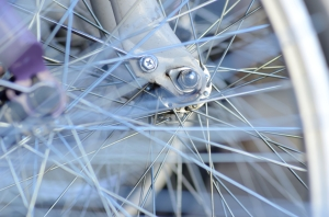 Silver Wheel Spokes from Close Distance