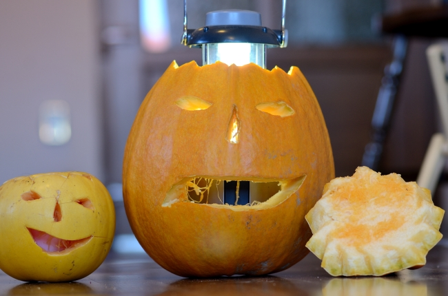 Halloween Lights and Carved Pumpkin Duo
