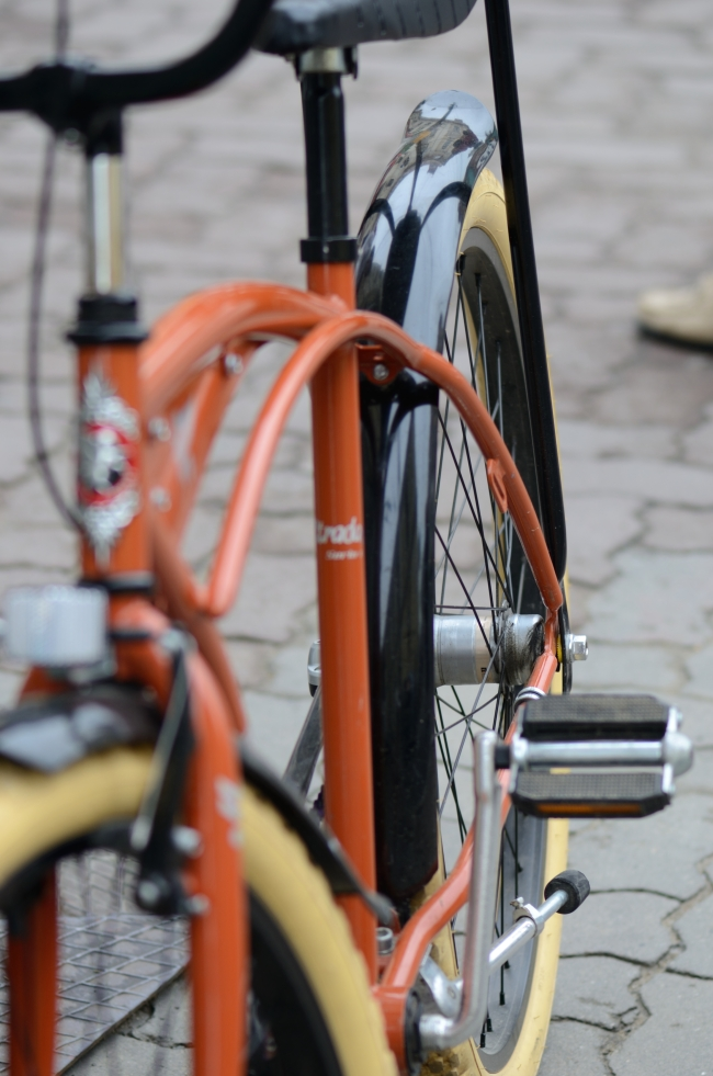Urban Pavement with Modern Orange Bicycle
