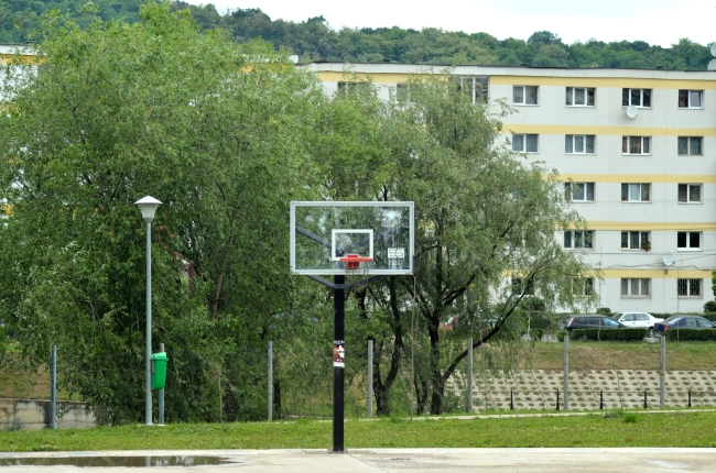 Basketball Court near Large Building