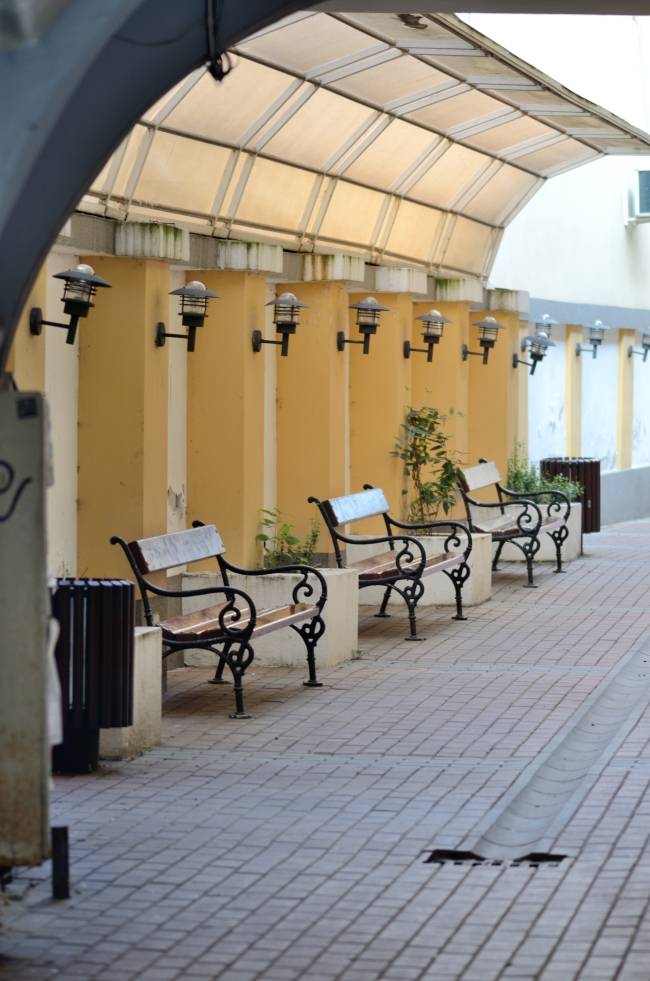 Covered Benches and Street Lamps