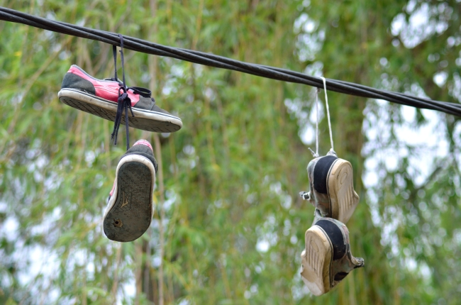 Four Sneakers Leashed on Rubber Wire