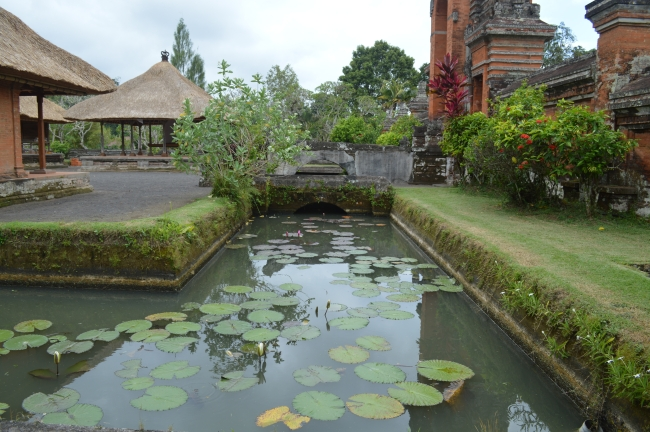 Pond with Water Lilies in the Yard of a Temple