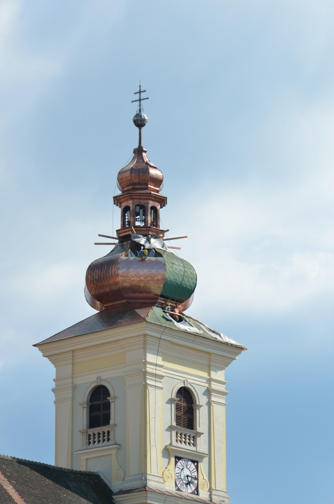 Tower of Church with Running Clock