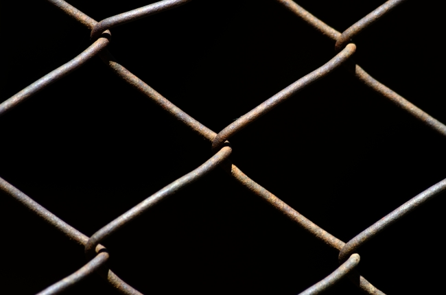 Wire Fence with Black Background