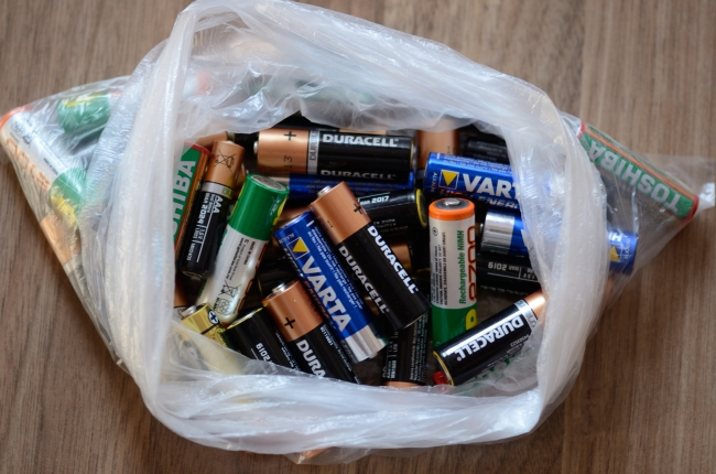 Various Used Batteries in Plastic Bag