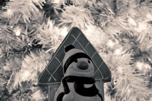 B/W Christmas Tree with Snowman