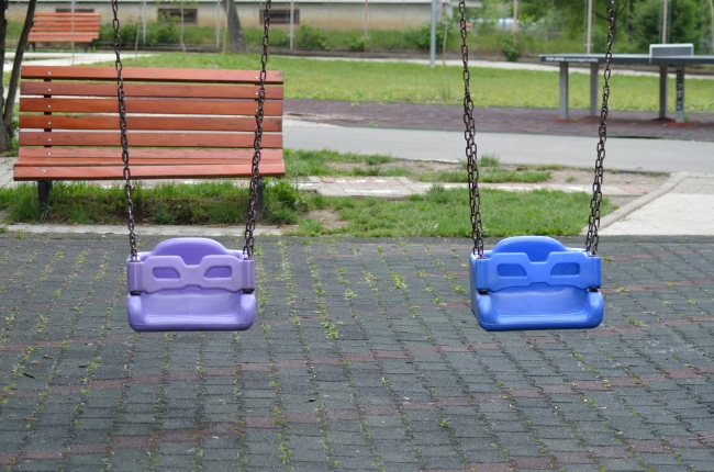 Swings in front of a Bench