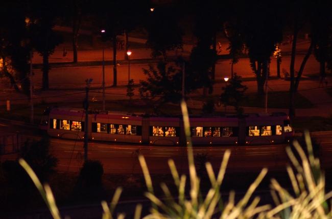 Modern City Tram by Night