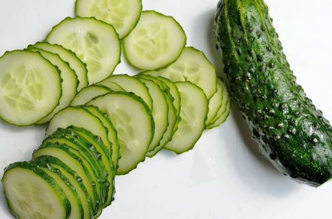 Many Slices of Cucumber Freshly Cut