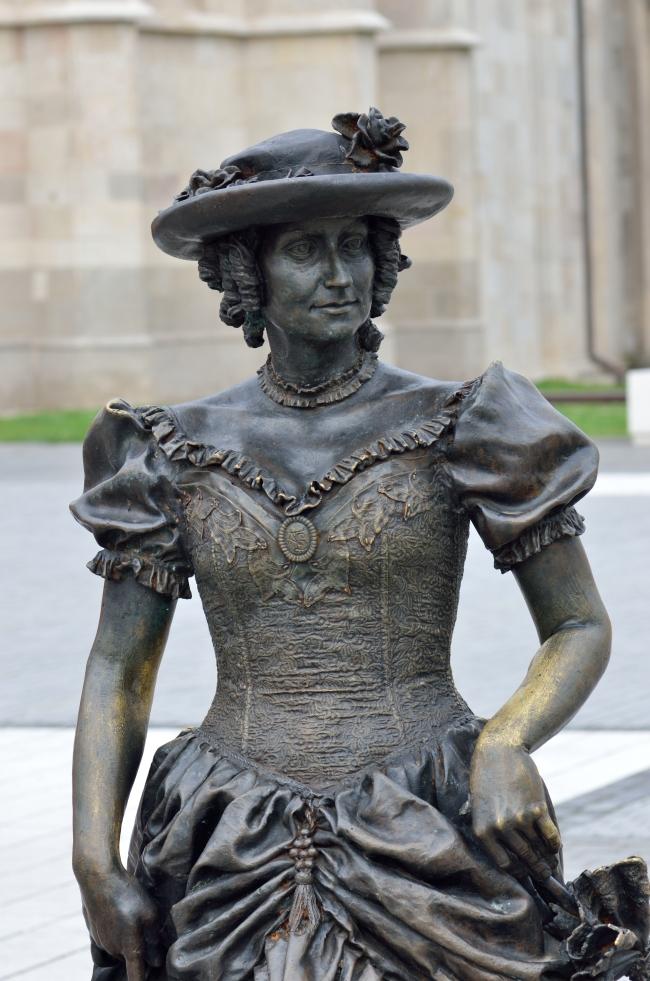 Bronze Pedestrian Statue Detail