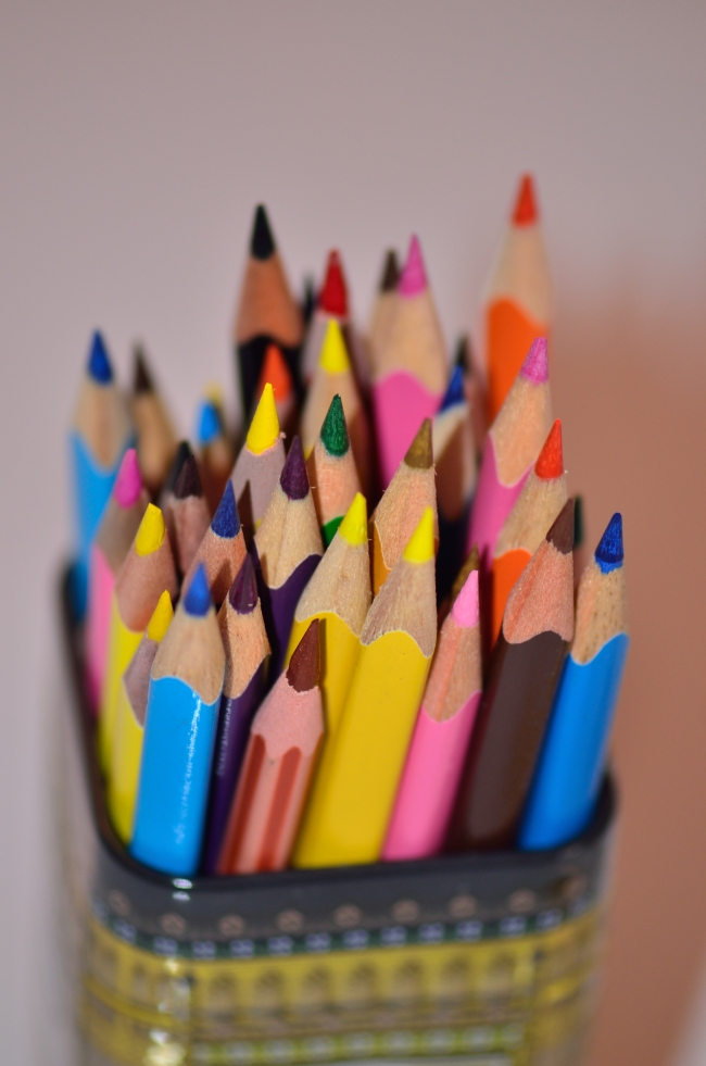 Bunch of Crayons Close-Up