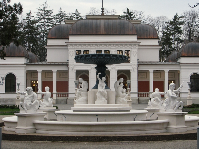 Group of Statues near a Fountain