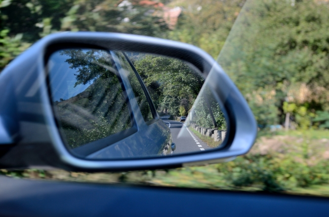 Road Reflected in Car Wing Mirror