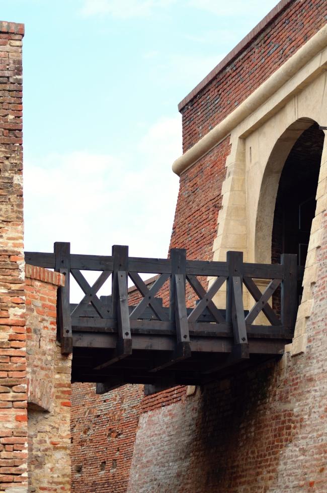 Short Wooden Bridge Connecting Medieval Buildings