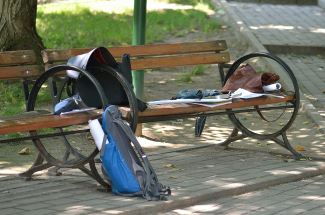 Students' Personal Items on Bench