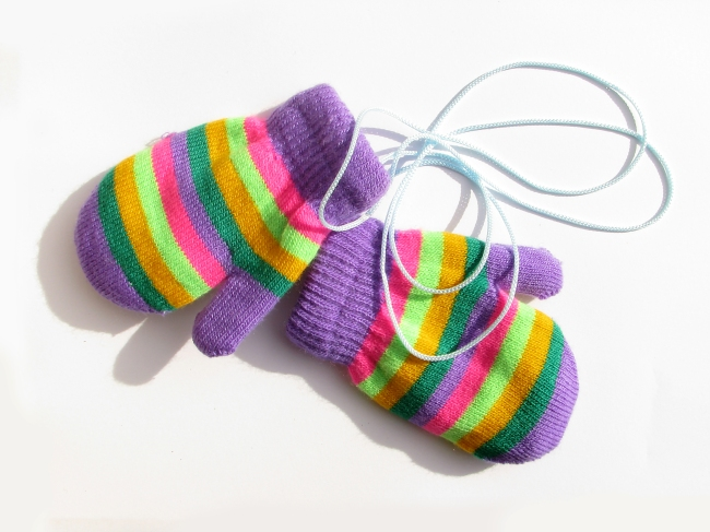 Tiny Knitted Mittens on a String